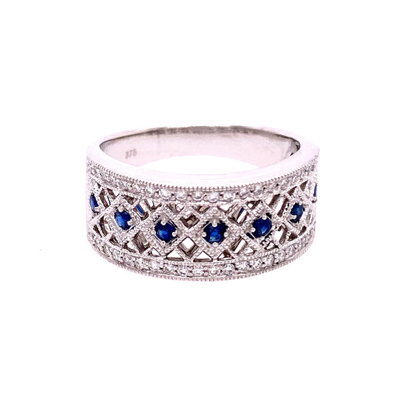 9ct White Gold Sapphire Diamond Zig-Zag Dress Ring