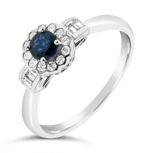 9ct White Gold Sapphire Antique Diamond Dress Ring