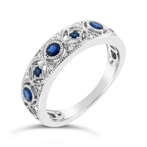 9ct White Gold Sapphire Diamond Dress Ring