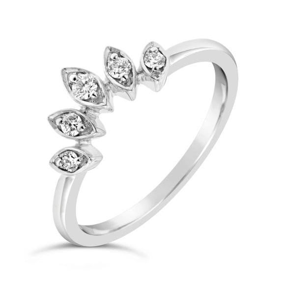 9ct White Gold Marquise Shape Curved Diamond Ring