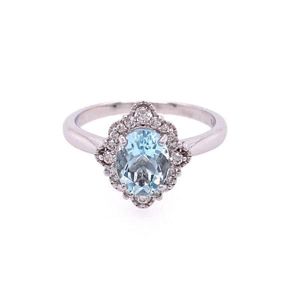 9ct White Gold Antique Diamond Aquamarine Ring