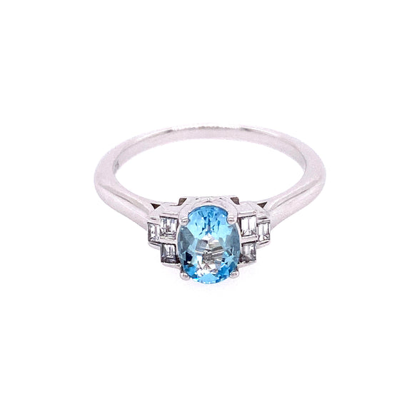 9ct White Gold Diamond Antique Aquamarine Ring