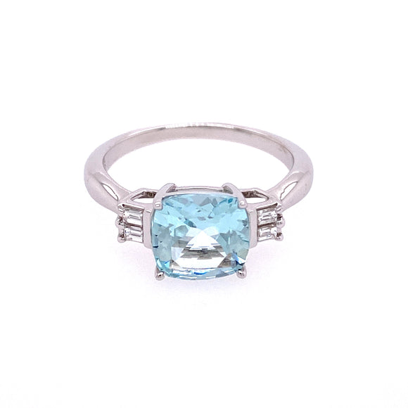 9ct White Gold Diamond Aquamarine Ring