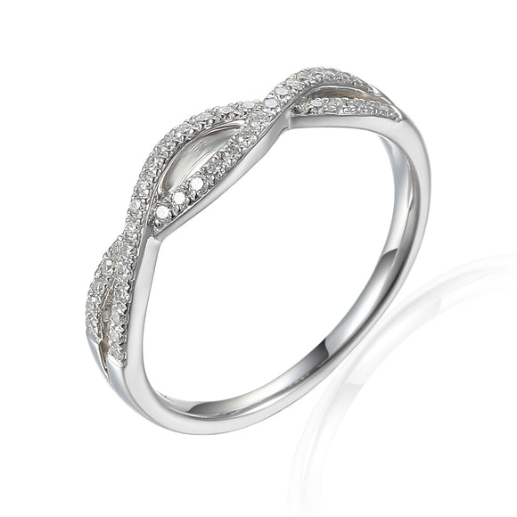 9ct White Fine Twist Diamond Dress Ring