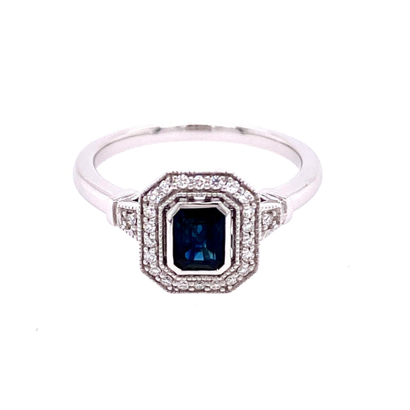9ct White Gold Antique Sapphire Diamond Dress Ring with Halo
