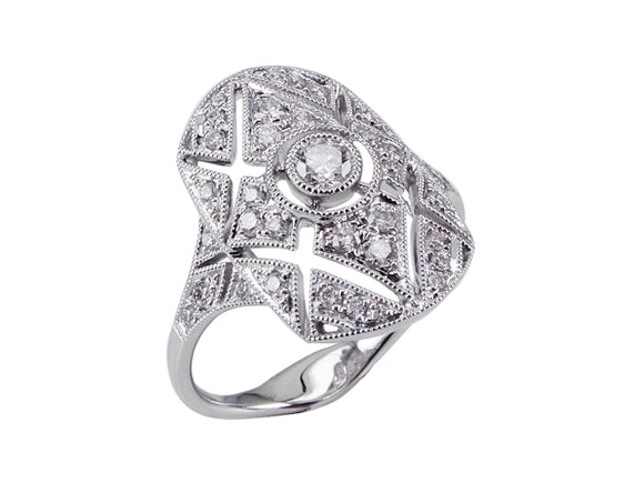 18ct White Gold Art Deco Shield Diamond Ring