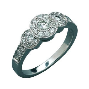 9ct White Gold Antique Diamond Dress Ring