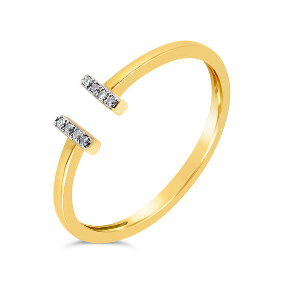 9ct Yellow Gold Double Bar Dress Diamond Ring