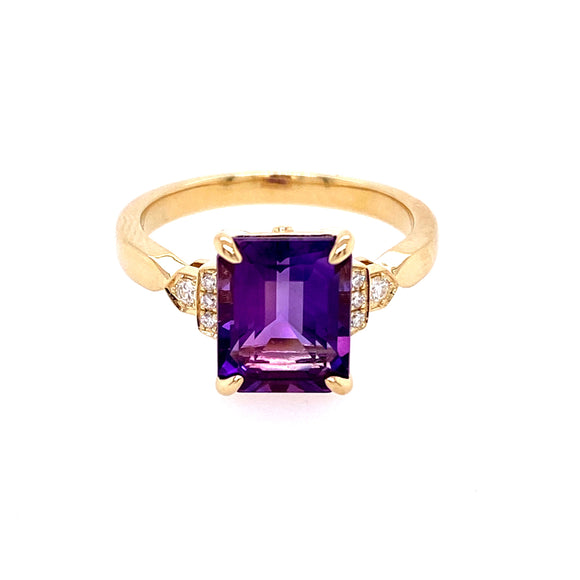 9ct Yellow Gold Diamond Amethyst Art Deco Ring