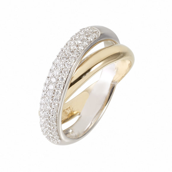 9ct Gold Diamond Cross Pavé Ring