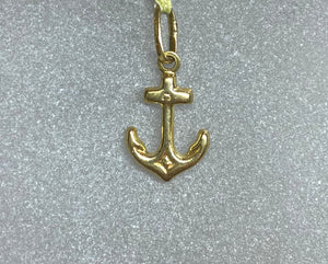 9ct Yellow Gold Small Anchor Pendant