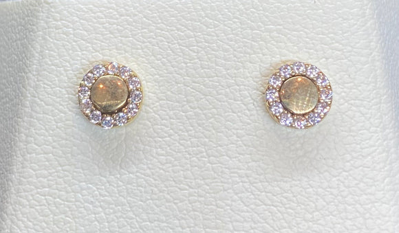 9ct Yellow Gold Round Disc Studs