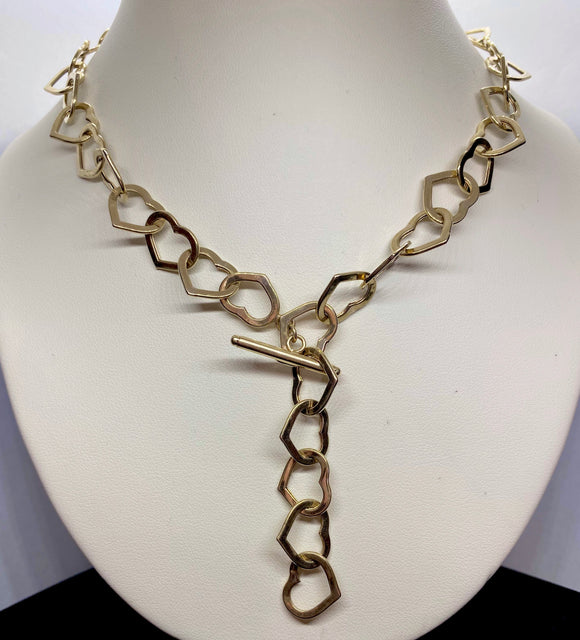 9ct Yellow Gold Open Heart Chain Necklace