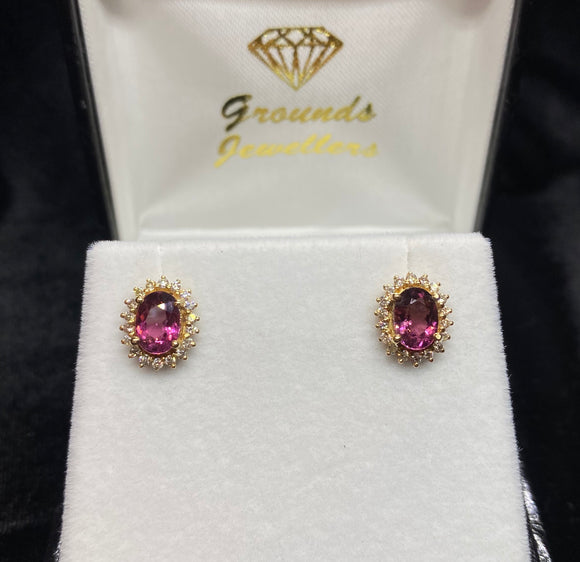 9ct Yellow Gold Pink Tourmaline Diamond Earrings