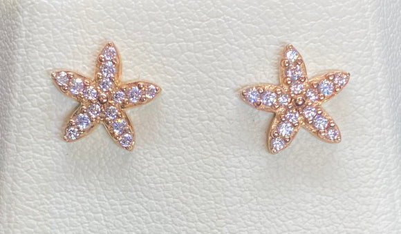 9ct Rose Gold Flower Studs