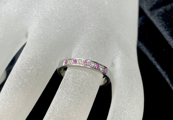 18ct White Gold Pink Sapphire & Diamond Ring