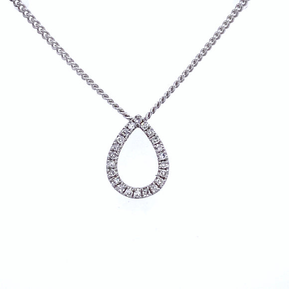 9ct White Gold Diamond Pear Shape Necklace