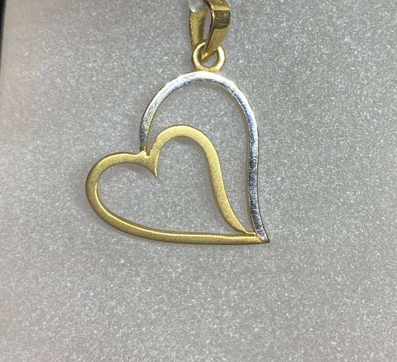 9ct Two Tone Double Heart Pendant