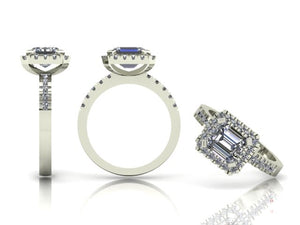 4 Claw Emerald Cut Diamond Ring with Diamond Halo & Shoulders