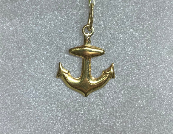 9ct Yellow Gold Anchor Pendant