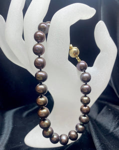 14ct Yellow Gold Black Dyed Fresh Water Pearl Bracelet