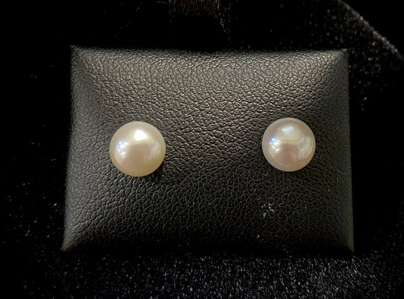 9ct Yellow Gold White Fresh Water Pearl Studs