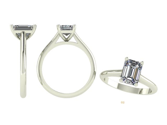 4 Claw Emerald Cut Solitaire Diamond Ring