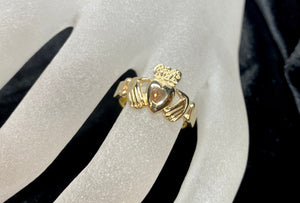 9ct Yellow Gold Irish Claddagh Ring