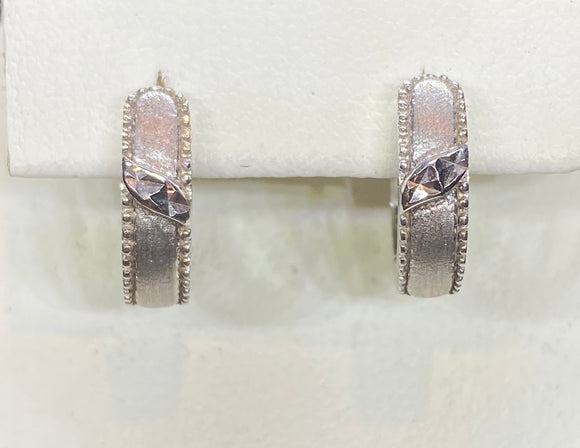9ct White Gold Polished & Matte Huggie Earrings