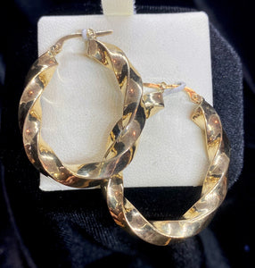 9ct Yellow Gold Oval Twist Hoop Earrings