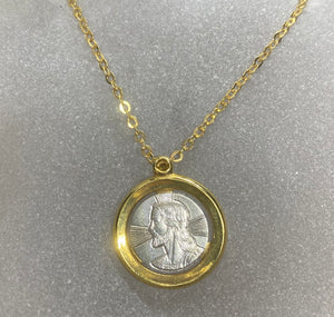 18ct Two Tone Jesus Christ Necklace