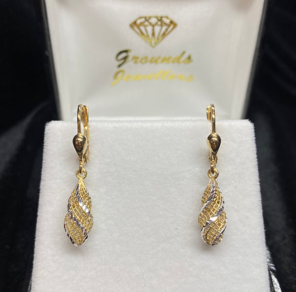 9ct Two Tone Filigree Drop Earrings