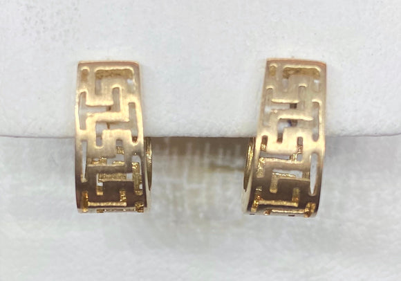 9ct Yellow Gold Matte Greek Key Huggie Earrings