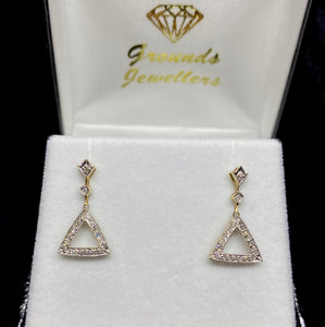 9ct Yellow Gold Diamond Triangle Drop Earrings