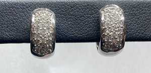 18ct White Gold Pavé Diamond Huggie Earrings