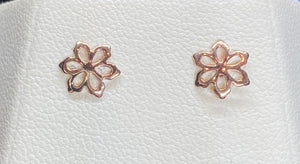 9ct Rose Gold Flower Cut Out Studs