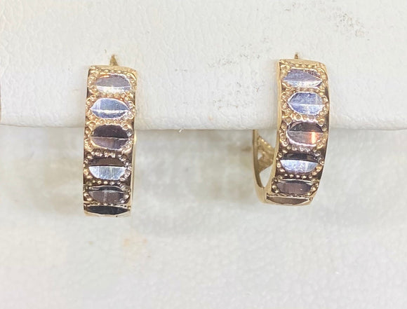 9ct Two Tone Diamond Cut Huggie Earrings