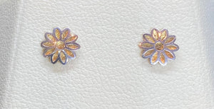 9ct Two Tone Flower Cut Out Studs