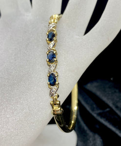 9ct Two Tone Coloured Stone Bracelet