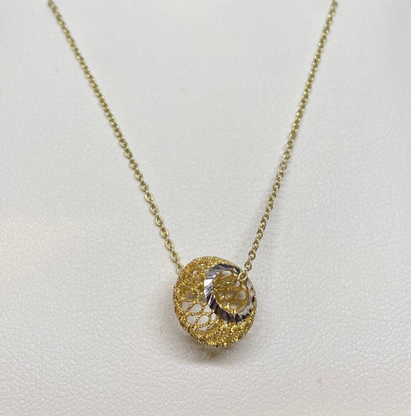 9ct Two Tone Filigree Ball Necklace