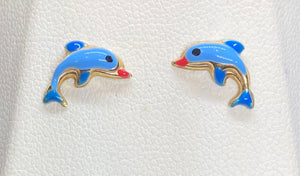 9ct Yellow Gold Dolphin Studs