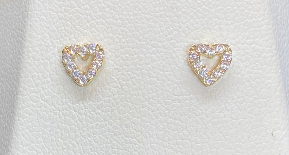 9ct Yellow Gold Cut Out Heart Studs