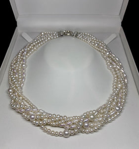 Sterling Silver White Fresh Water Pearl Necklace