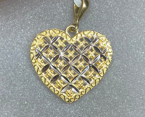 9ct Two Tone Criss Cross Lattice Heart Pendant