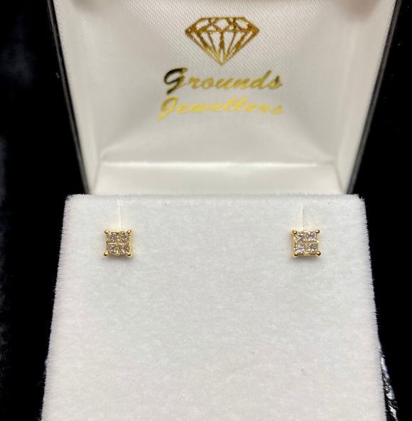 18ct Yellow Gold Invisible Cut Diamond Stud Earrings