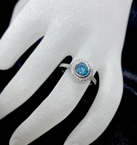 18ct White Gold Blue Diamond Halo Ring