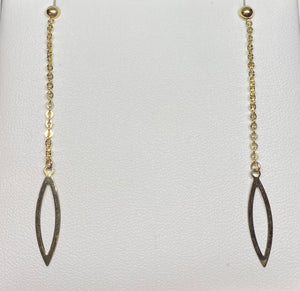 9ct Yellow Gold Chain Drop Leaf Earrings