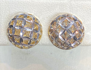 9ct Two Tone Filigree Half Ball Stud