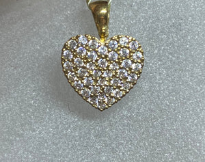 9ct Yellow Gold Cubic Pavé Heart