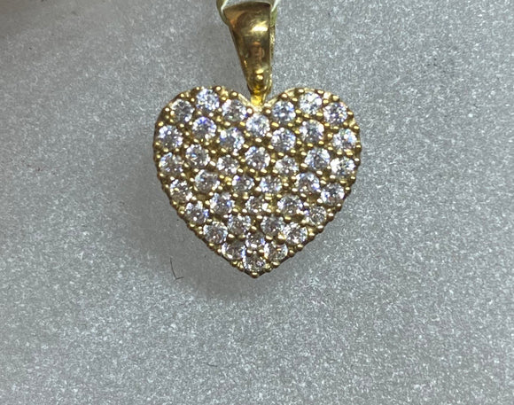 9ct Yellow Gold Pavé Heart